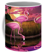 Flamingoes Flamingos Tropical Sunset Landscape Florida Everglades Large Hot Pink Purple Print Coffee Mug