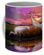 Whooping Cranes Tropical Florida Everglades Sunset Birds Landscape Scene Purple Pink Print Coffee Mug