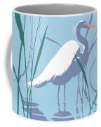 abstract Egret graphic pop art nouveau 1980s stylized retro tropical florida bird print blue gray  Coffee Mug