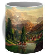 Indian Village Trapper Western Mountain Landscape Oil Painting - Native Americans -square Format Coffee Mug