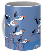 abstract Pelicans seascape tropical pop art nouveau 1980s florida birds large retro painting  Coffee Mug