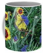 Butterfly And Wildflowers Spring Floral Garden Floral In Green And Yellow - Square Format Image Coffee Mug