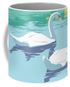 Abstract Swans Bird Lake Pop Art Nouveau Retro 80s 1980s Landscape Stylized Large Painting  Coffee Mug