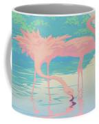 Square Format - Pink Flamingos Retro Pop Art Nouveau Tropical Bird 80s 1980s Florida Painting Print Coffee Mug