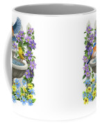 Fountain Festivities - Birds And Birdbath Painting Coffee Mug by Crista Forest