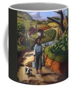 Boy And Dog Farm Landscape - Flashback - Childhood Memories - Americana - Painting - Walt Curlee Coffee Mug
