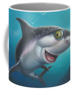 friendly Shark Cartoony cartoon under sea ocean underwater scene art print blue grey  Coffee Mug