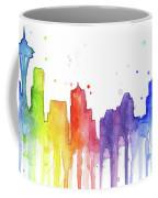 Seattle Rainbow Watercolor Coffee Mug by Olga Shvartsur