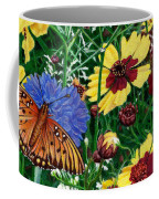 Butterfly Wildflowers Garden Oil Painting Floral Green Blue Orange-2 Coffee Mug