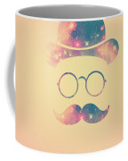 Retro Face With Moustache And Glasses  Universe  Galaxy Hipster In Gold Coffee Mug