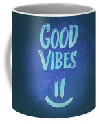 Good Vibes  Funny Smiley Statement Happy Face Blue Stars Edit Coffee Mug
