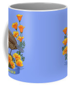 California Quail And Golden Poppies Coffee Mug by Crista Forest