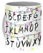 Stranger Things Alphabet Wall Christmas Lights Coffee Mug