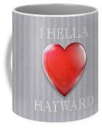 I Hella Love Hayward Ruby Red Heart On Gray Flannel Coffee Mug