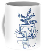 Indigo Potted Succulents- Art By Linda Woods Coffee Mug by Linda Woods
