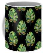 Tropical Leaves On Black- Art By Linda Woods Coffee Mug by Linda Woods