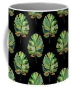 Tropical Leaves On Black- Art By Linda Woods Coffee Mug