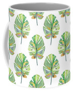 Tropical Leaves On White- Art By Linda Woods Coffee Mug