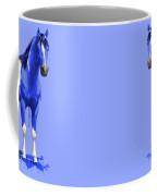 Royal Blue Wet Paint Horse Coffee Mug