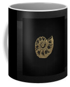 Fossil Record - Golden Ammonite Fossil On Square Black Canvas #4 Coffee Mug