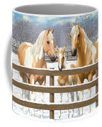 Palomino Paint Horses In Snow Coffee Mug by Crista Forest