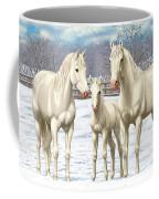 White Horses In Winter Pasture Coffee Mug