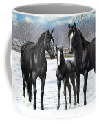 Black Horses In Winter Pasture Coffee Mug