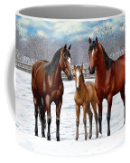 Bay Horses In Winter Pasture Coffee Mug
