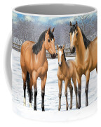 Buckskin Horses In Winter Pasture Coffee Mug
