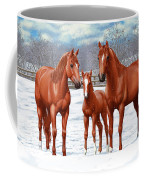 Chestnut Horses In Winter Pasture Coffee Mug by Crista Forest