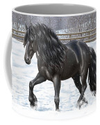 Black Friesian Horse In Snow Coffee Mug