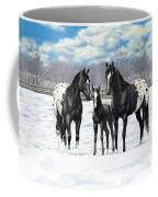 Black Appaloosa Horses In Winter Pasture Coffee Mug