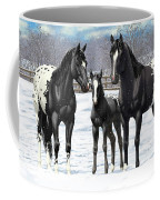 Black Appaloosa Horses In Winter Pasture Coffee Mug