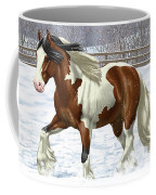 Bay Pinto Gypsy Vanner In Snow Coffee Mug