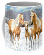 Palomino Paint Horses In Winter Pasture Coffee Mug