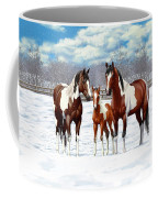 Bay Paint Horses In Winter Coffee Mug