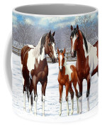 Bay Paint Horses In Winter Coffee Mug