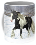 Black Pinto Gypsy Vanner In Snow Coffee Mug by Crista Forest