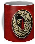 Japanese Katana Tsuba - Golden Crane On Black Steel Over Red Velvet Coffee Mug
