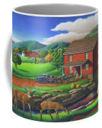 Old Red Appalachian Grist Mill Rural Landscape - Square Format  Coffee Mug