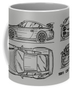 911 Gt3 Rs Blueprint - White Coffee Mug