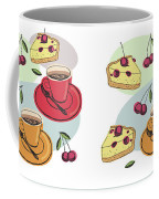 Black Cherry Pie And A Steaming Hot Cup Of Coffee Coffee Mug