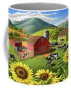 Sunflowers Cows Appalachian Farm Landscape - Rural Americana - Farm Animals - 1950 Farm Life - Barn Coffee Mug