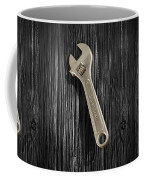 Adjustable Wrench Over Black And White Wood 72 Coffee Mug