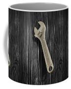 Adjustable Wrench Over Black And White Wood 72 Coffee Mug