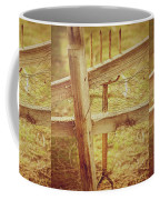 Spading Fork On Chicken Wire Fence Morning Sunlight Coffee Mug