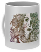 Wake - Autumn - Street Art Woman With Maple Leaves Tattoo Coffee Mug