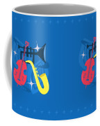 Jazz Composition With Bass, Saxophone And Trumpet Coffee Mug