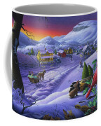 Christmas Sleigh Ride Winter Landscape Oil Painting - Cardinals Country Farm - Small Town Folk Art Coffee Mug