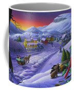 Christmas Sleigh Ride Winter Landscape Oil Painting - Cardinals Country Farm - Small Town Folk Art Coffee Mug